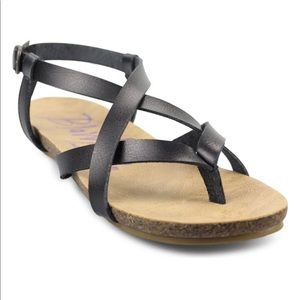 NWT Black Vegan Leather Blowfish Granola Sandals